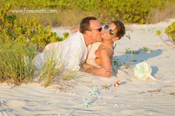 wedding couple at intimate beach on Sanibel Island
