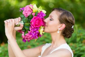 bride and flowers at her Sanibel wedding