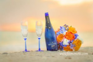 champagne and flowers for wedding on Sanibel Island