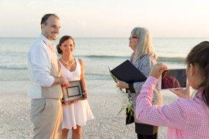 wedding couple speak to family via SKYPE