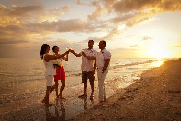 champagne toast on sanibel beach