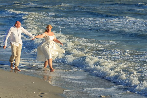 wedding couple enjoy a secluded Sanibel beach