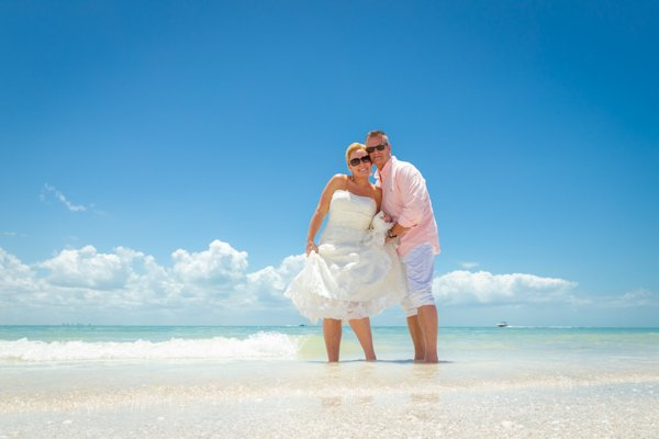 bride and groom on Florida beach