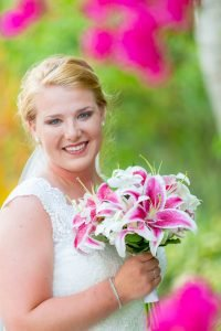 colorful flowers for this bride at her Sanibel beach wedding