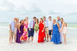 wedding couple and family on Sanibel beach
