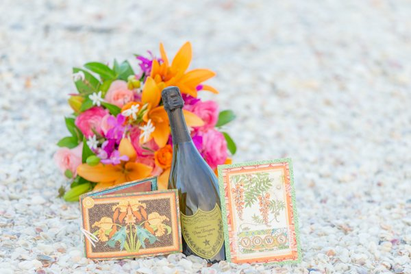flowers and champagne for wedding on Sanibel Island