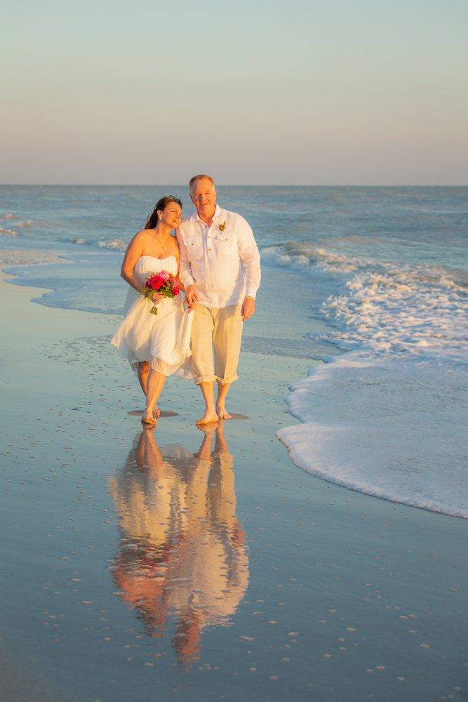 Sanibel beach wedding picture on water