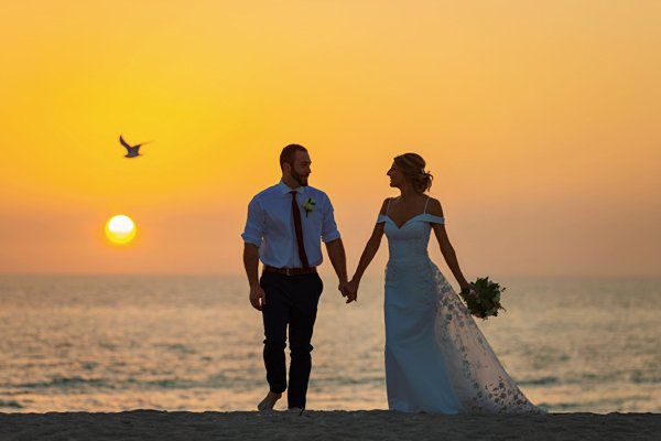 wedding picture at sunset on Sanibel Island
