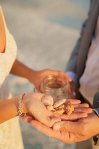 rings and shells for elopement ceremony