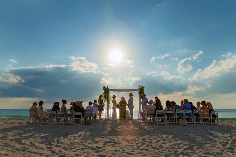 Wedding ceremony at sunset