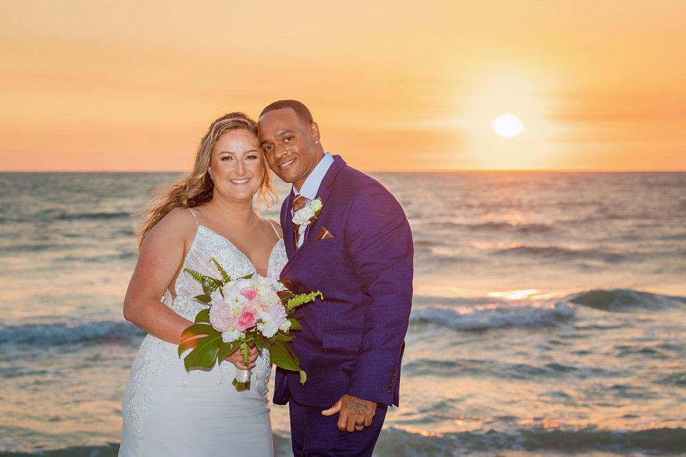 sunset photo at beach wedding